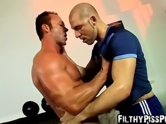 Nasty slave Billy Baval wants Jota Salazs piss in his mouth