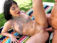 Oiled Rina Ellis fingered then cock riding hardcore