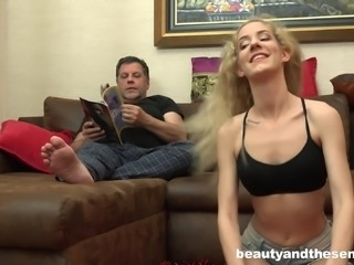 Blonde Monique Woods enjoys riding Philippe Soine's pulsating cock
