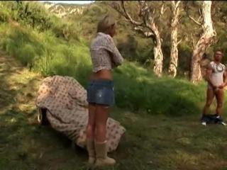 Tiffany Taylor shading miniskirt then throbbed doggystyle outdoor