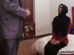 Horny Arab hottie riding long cock in hotel room