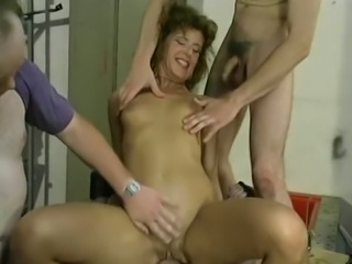 Dirty slender white milf in the garage having hardcore gangbang