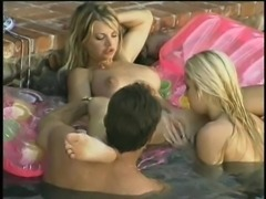 Ashley Blue has a blast during a wet threesome session