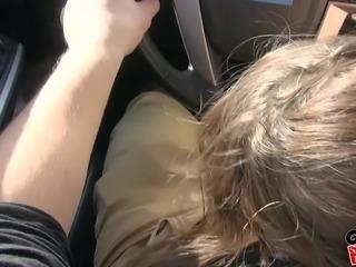 three hot girls suck dick in a car