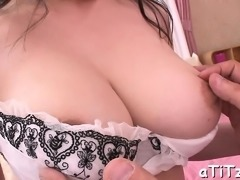 Big hooters japanese chick enjoys wicked three-some sex