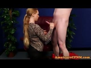 Fully clothed slut sucking hard dick