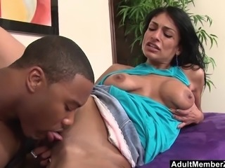 Middle Eastern slut spreads for her first black cock