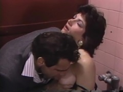 April West's hairy vagina ravished by a horny man in a rest room