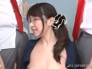 Busty Asian Arisa Misato fingers her pussy and sucks a few pricks