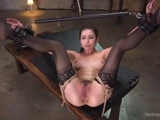 Beautiful brunette Melissa wants to become the best slave, and she's willing to test her boundaries to prove it. Bound with rope, with her legs and arms spread wide, watch as her sweet pink pussy is fingered, and then fucked deep from behind.