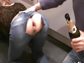Brutally fisting his GFs gaping ass hole