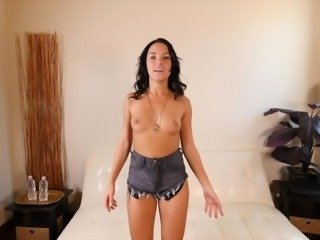 Tattooed Megan in shorts screaming while monster cock throbs her