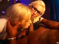 Mia Blond and Victoria Puppy join horny babes for a hot sex party