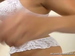 Outrageous latina webcam beauty in white sexy lingerie