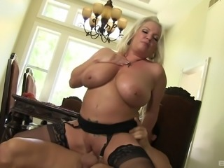 Rachel Love with big tits throbbed doggystyle in kitchen