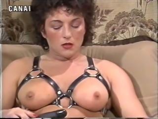 Busty classic brunette milf on the armchair masturbating