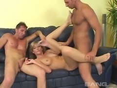 Blonde Judy White loving hardcore double fucking in mmf