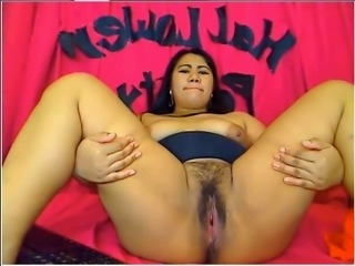 Extremely fat and perverted brunette bitch flashed her huge pussy