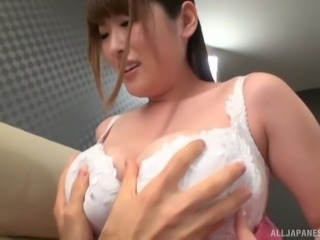 Huge-breasted Asian bomb Miyoshi Aya is ready to have her tits dicked