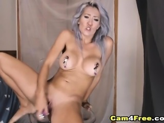 White Haired Teen Rides Her Toy Like A Real Cock