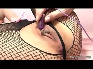 Yurika Gotou in a black fishnet body suit has her fine ass squeezed and pussy ba