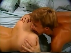 Beautiful blonde milf woman enjoys rimjob from behind