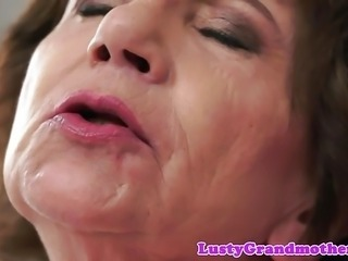 Beautiful grandma rides black cock