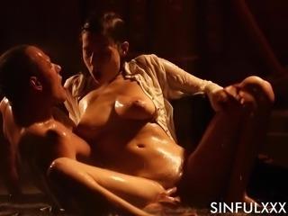 Wet sex session with stunning brunette chick Antonia Sainz