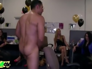 Handsome party guy got unbelievable blowjobs from cock hungry women