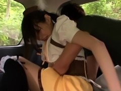 fantasy asian cosplay babe is fingered in the back of my car