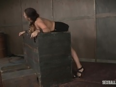 tied up scarlet gets fucked by two guys
