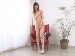 Babe with a tiny chest Kishi Yuuki gets completely naked and filmed