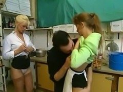 Hot and insatiable French ladies in the kitchen having threesome