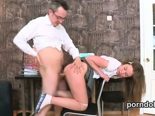 Lovable schoolgirl is seduced and drilled by her aged tutor7