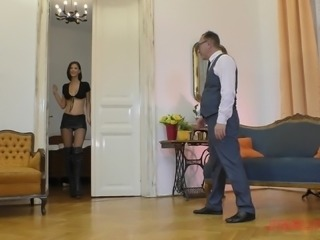 Cute brunette Mimi will do anything for a mature man's cock