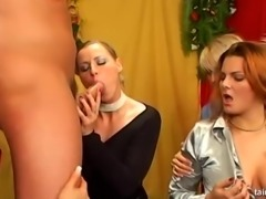 Cowgirl seductively giving cock blowjob then fucked in group porn