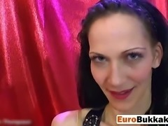 Brunette Euro slut rides cock and enjoys getting piss all over he face and in...
