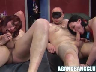 Hot big ass matures get pussy drilled hard in hard gangbang.