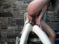 PVC and latex clad lesbian hotties toying on each other