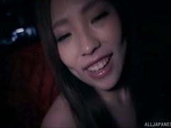 Very hot and cute Asian girl sucking a cock in the dark and fucking