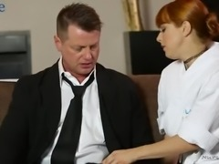 Damn nice redhead Penny Pax gives a hot ride on oiled dick in the parlor