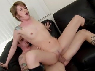 Amazing flat-chested babe having her pussy smacked from boning