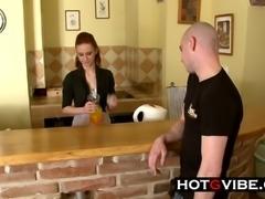 Teen Waitress Sucks and Fucks a Customer