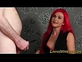Busty femdom babe rubs