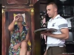 Blond haired dirty wrinkled mature slut with saggy ugly tits gives head