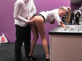 Big boobs blonde Heidi Hollywood DP with big black cocks