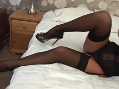 Miss Makepiece moaning while cherishing sex hole with toy