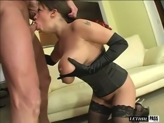 Wonderful busty sexpot in corset Alexis Silver is quite good at riding dick
