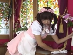 Girl in a maid uniform craves a lover's erected cock