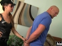Hot Mia Gold gives an amazing blowjob to her lover's rock solid schlong.
